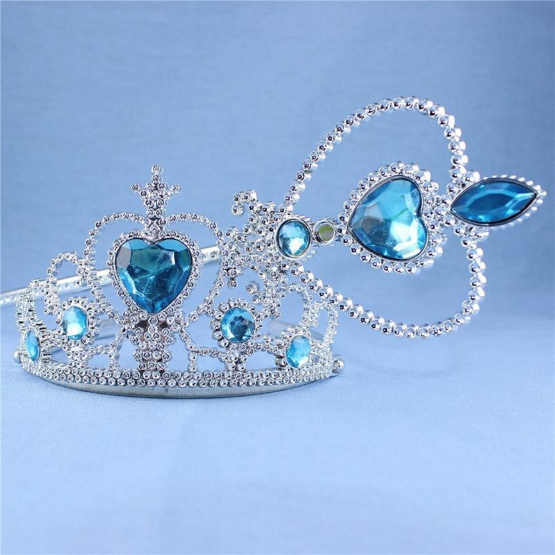 Cute Rhinestone Heart Silver Wedding Crown Headband Princess Blue Plastic Tiara Hairband For Girls Kids Hair Accessories Jewelry