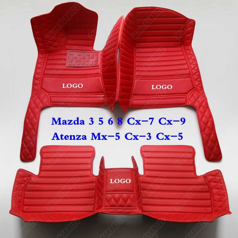 Custom Made Piano Auto Tappetini Pads per Mazda 3 5 6 8 Cx-7 Cx-9 Atenza Mx-5 Cx-3 Cx-5 In Pelle 3D All Weather Auto Tappeto Copertura