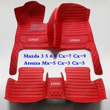 Custom Made Auto Vloer Voet Matten Pads Voor Mazda 3 5 6 8 Cx-7 Cx-9 Atenza Mx-5 Cx-3 Cx-5 Lederen 3D All Weather Auto Tapijt Cover(China)