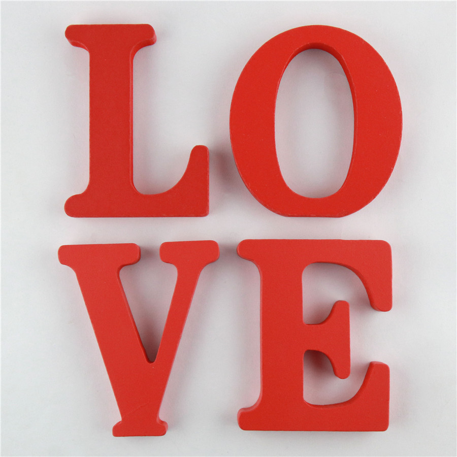 1pc 10cm Wooden Letters Alphabet Name Design Art Crafts Red Letter Standing Shape DIY Word Party Birthday Home Decor 3.94 Inches