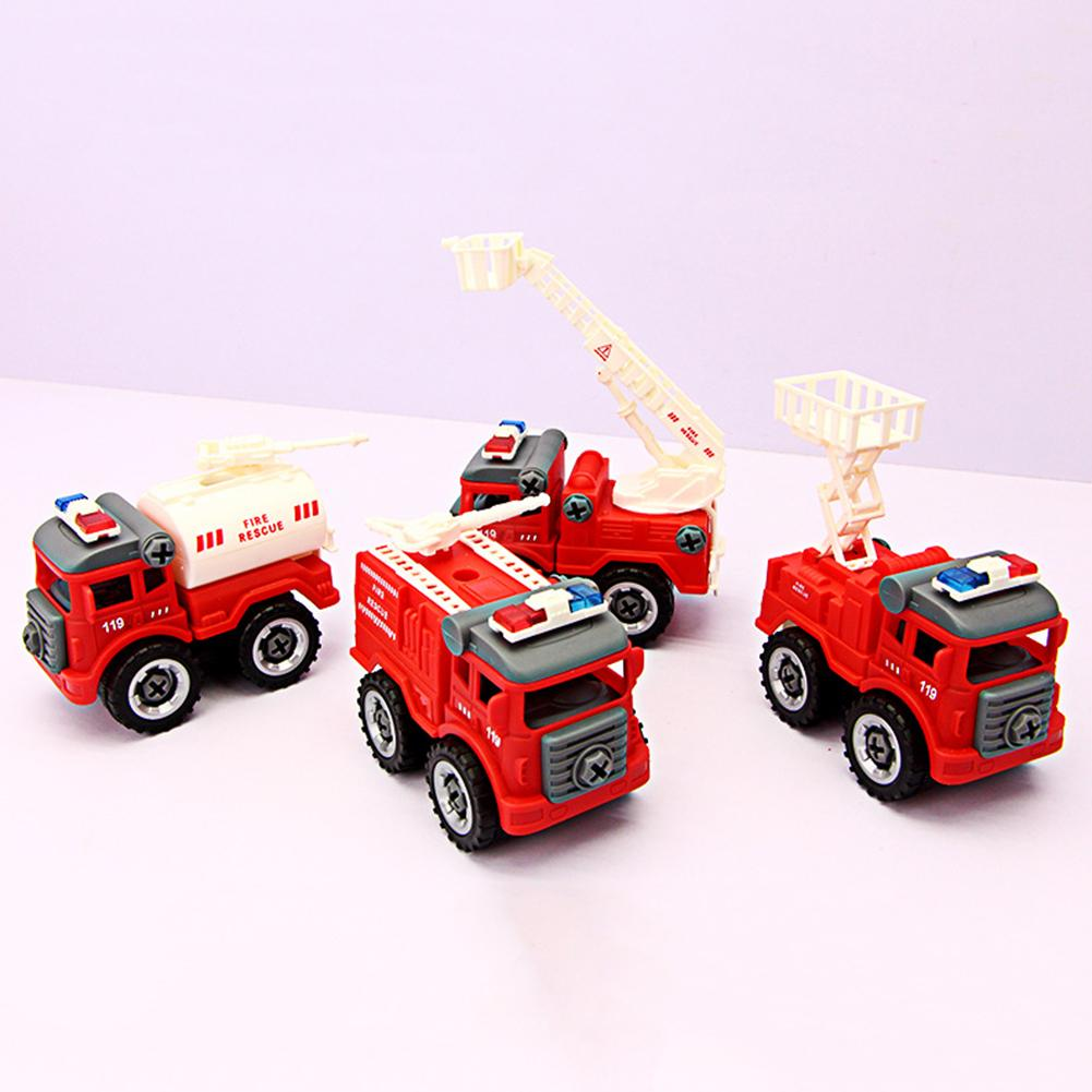 4Pcs DIY Assemble Disassemble Fire Truck <font><b>Car</b></font> Screw Nuts Model Education Kids Toy image