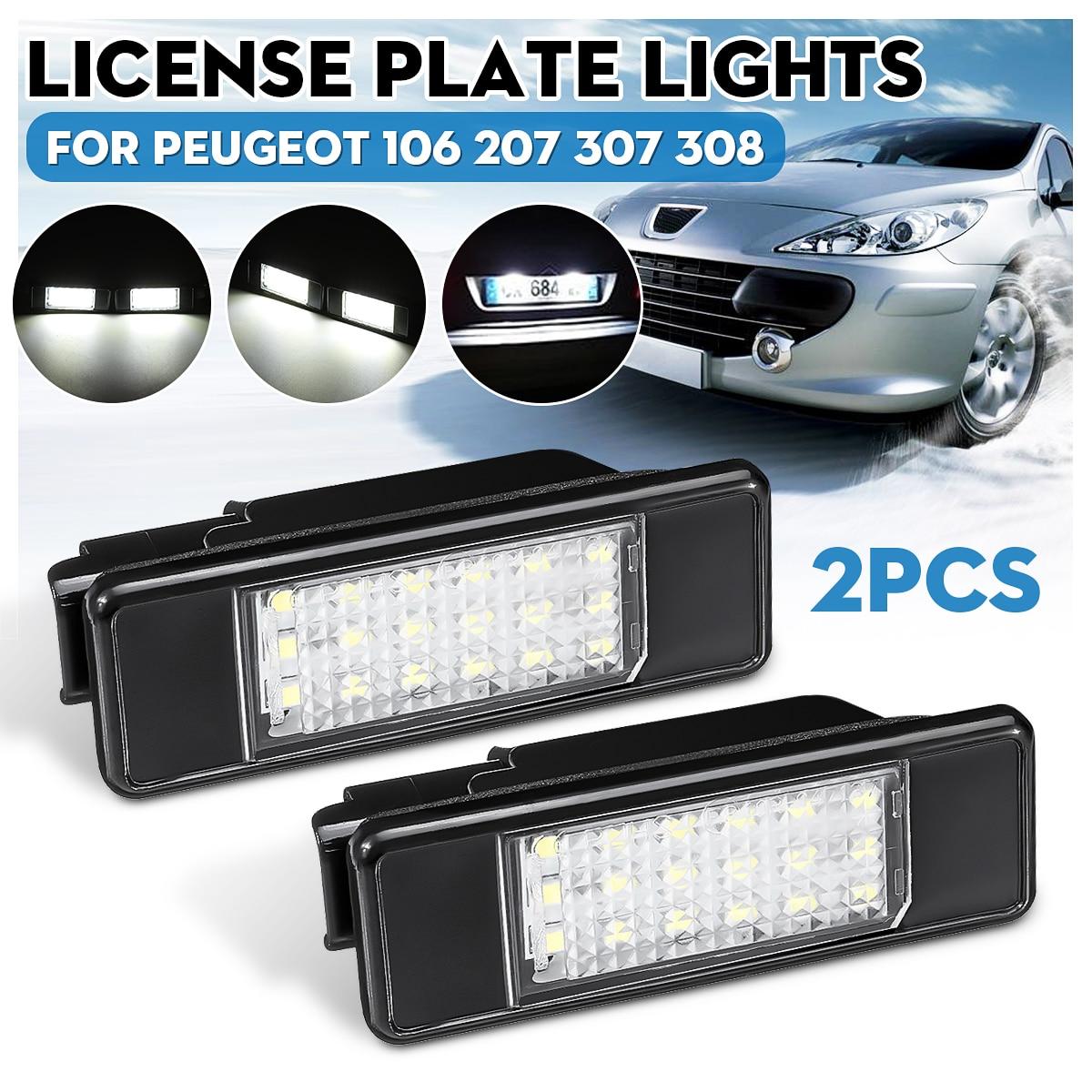 2x Peugeot Licence Number Plate LED Light White 106 207 307 308 406 407 508 RCZ