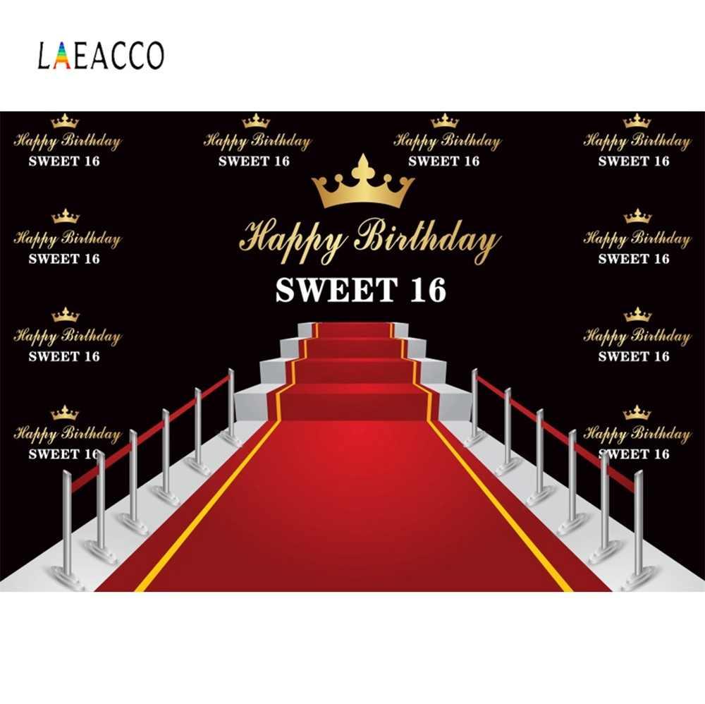 Laeacco Happy Sweet 16th cumpleaños fiesta corona dorada alfombra roja etapa familia sesión retrato foto fondos fotografía telón de fondo