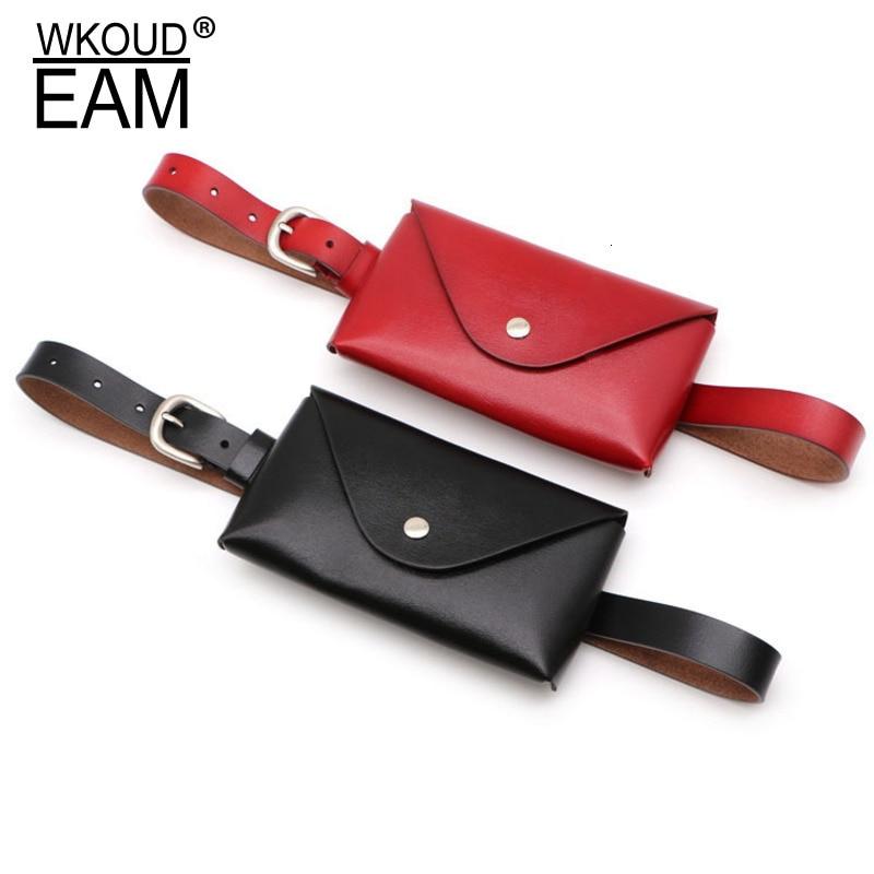 WKOUD EAM 2020 New Fashion Autumn Winter Waist Bag For Women Leather Solid Belt Causal Trendy Korea Detachable Belt Female ZJ930