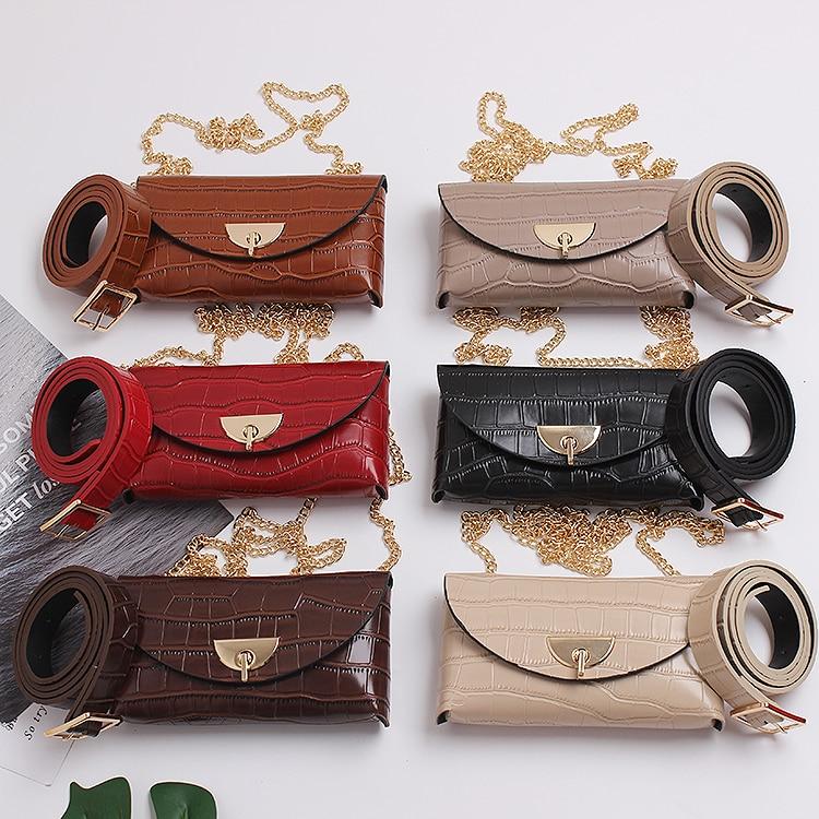 Chic Women Mini Fanny Packs CROCO Alligator Leather Waist Belt Phone Money Packs Ladies WIde Long Chain Crossbody Messenger Bag