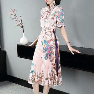 Женское Повседневное платье средней длины, вечерние винтажные элегантные платья с имитацией жемчуга и принтом на пуговицах, лето 2020