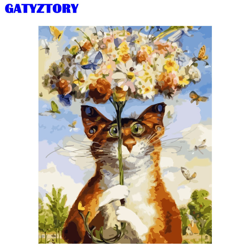 Frame Abstract Painting Cat Animals DIY Painting By Numbers Kits Acrylic Home Wall Art Picture For Home Decor 40x50cm Artwork