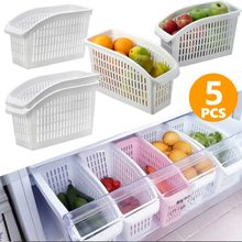5pcs Kitchen Refrigerator Organizer Hollow Plastic Container Adjustable Storage Box Fridge Fresh Spacer Layer Storage Box