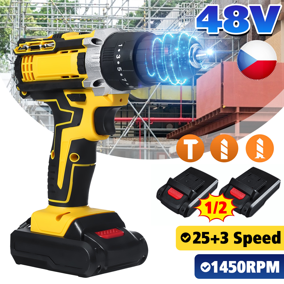 48V Cordless Drill Electric Screwdriver Mini Wireless Power Driver 25 3 Torque Cordless Impact Drill With 2 Lithium-Ion Battery