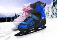 1 paar Erwachsene Kinder Ausbildung Eis Klinge Skates Schuhe Einstellbare Klinge Warme Thermal Eis Hockey Skating Anfänger