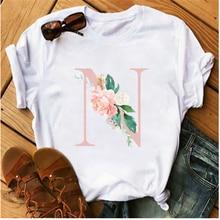 Розовые буквы с цветочными мотивами harajuku футболка изображением