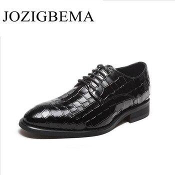 Men Round Toe Luxury Fashion Wedding Business Shoes Men Oxford Dress Shoes crocodile Pattern Men Formal Shoes