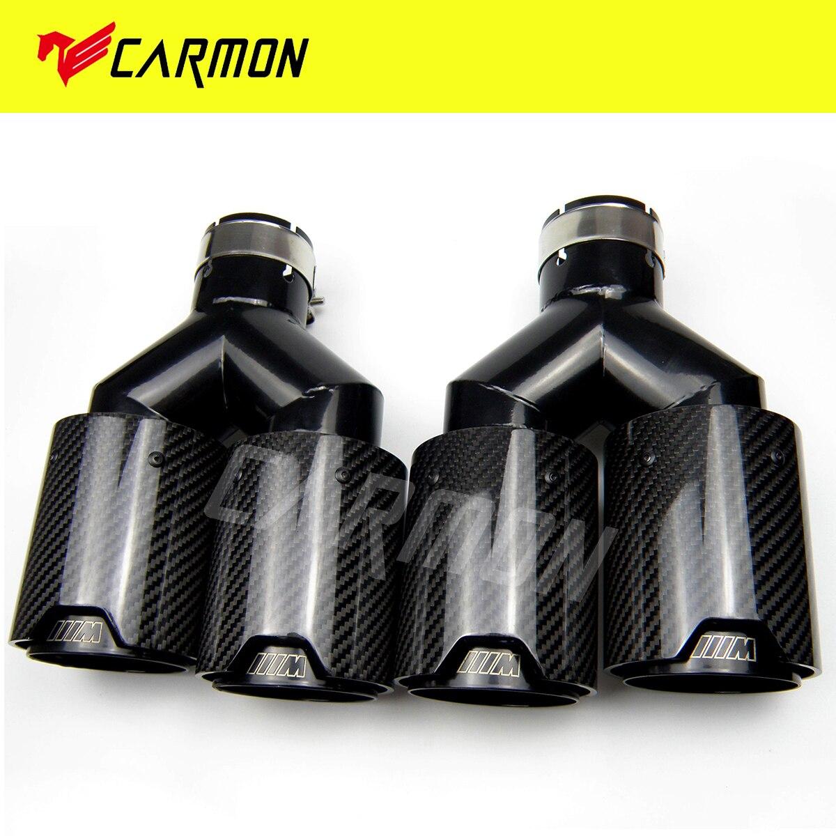 Dupla fibra de carbono + preto de aço inoxidável universal m desempenho de fibra de carbono dicas de escape tubos extremidade silenciador dicas para bmw