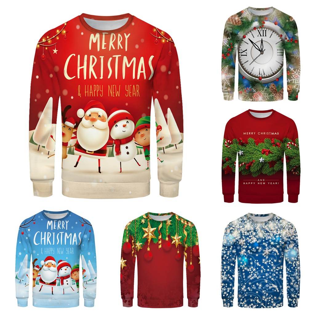 Clothes Sweatshirt Christmas Spring Men Women Couple's Fashion Red Plus Size 3D Printing Long Sleeve Sweatershirt Tops Sweater