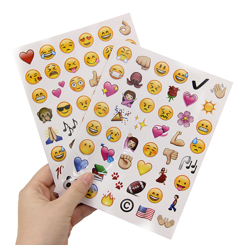 192PCS/4 Sheets Stationery Stickers DIY Sticky Paper Kawaii Smile Face Sticker For Decoration Diary Scrapbooking image