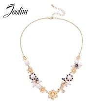 JOOLIM Jewelry Wholesale/Pearl Flower Choker Necklace stylish faux pearl bow flower lace choker necklace