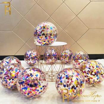 10/20 Star Confetti Balloons Metallic Confetti Latex Transparent Ballon Baby Shower Birthday Party Wedding Decoration Ball Globo 2