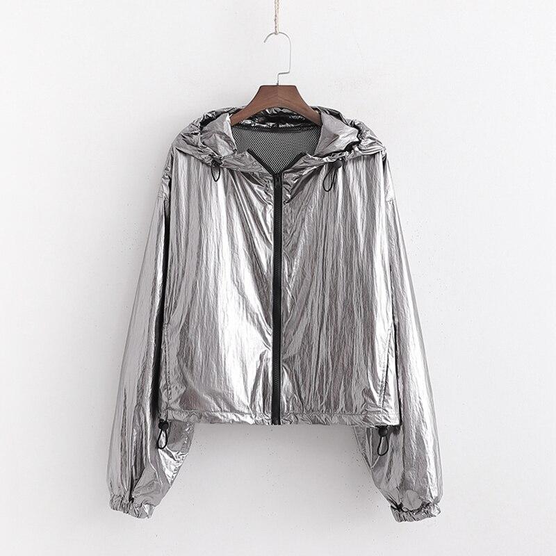 Women Spring Silver Hooded   Basic     Jacket   Long Sleeve Casual Female Fashion   Jackets   Shining Fabric