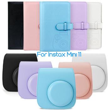 Fujifilm Instax Mini 11 Film natychmiastowy kamera akcesoria PU skórzana torba skrzynki pokrywa z paskiem na ramię + 96 kieszenie książka Album tanie i dobre opinie CAIUL BŁYSKAWICZNY APARAT FOTOGRAFICZNY CN (pochodzenie) torby na ramię Torebki na aparat Instax Mini 11 Case Fujifilm instax mini 11 Accessories Bundle