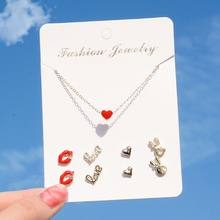 20 Style Assorted One Week Earrings Necklace Deer Heart Crystal Studs Jewelry Set For Women(China)