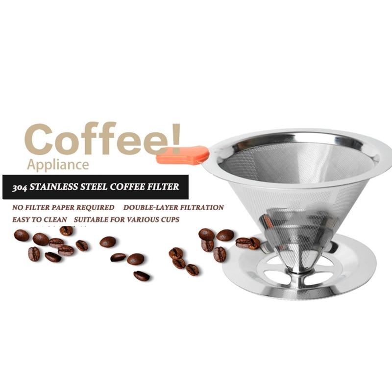 Vendita calda V60 Filtro In Acciaio Inox Filtro A Goccia con Base-Spedizione Filtro del Caffè A Mano Tè Caffettiera Caffè Riutilizzabile Imbuto