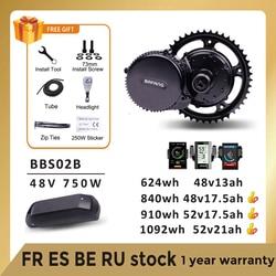 Bafang Motor 48V 750W BBS02B BBS02 Mid Drive Ebike Motor Electric Bike Conversion Kit 18650 48V 52V 17.5AH Samsung Battery Kits