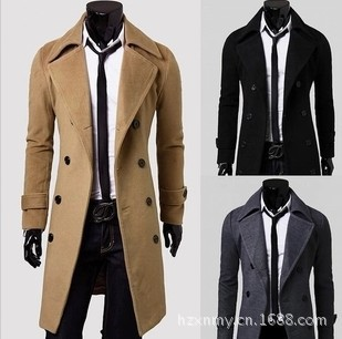 Wholesale Autumn And Winter Men Characteristics Long Double Breasted Duffle Coat Slim Fit Double-faced Woolen Goods Coat 5625