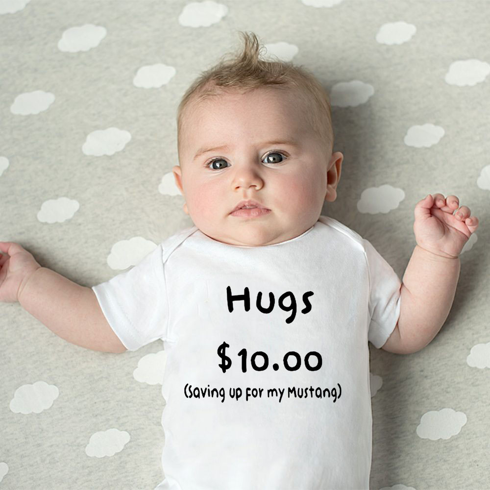 Summer Newborn Cotton Jumpsuit Hugs 10 Saving Up For My Mustang Funny Infant Bodysuit Baby Boy Girl Letter Print Playsuit