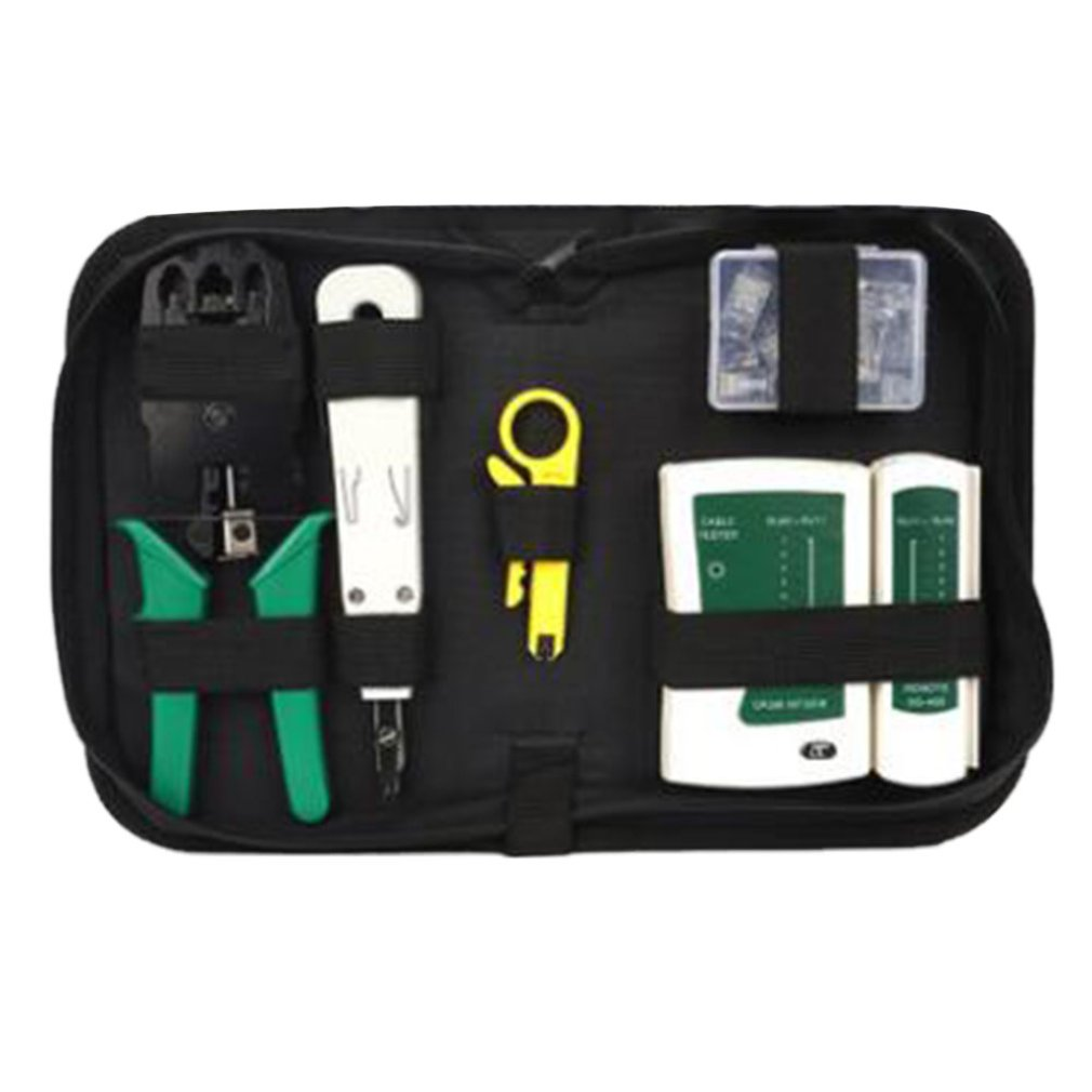 Professional Compact LAN Network Tool Kit Network Installation Tools Cable Tester Crimper Stripper Tool Bag Set
