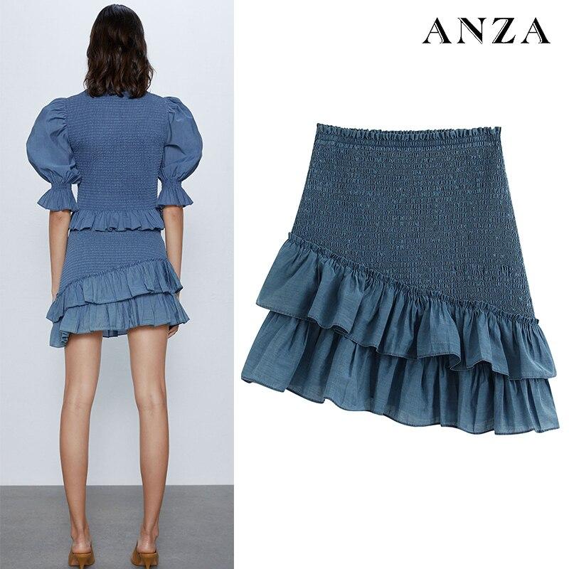ZA Women Miniskirt With High Waist Solid Ruffles Sexy Navy Blue Slim Skirt Femme Summer Casual Chiffon Bud Skirt