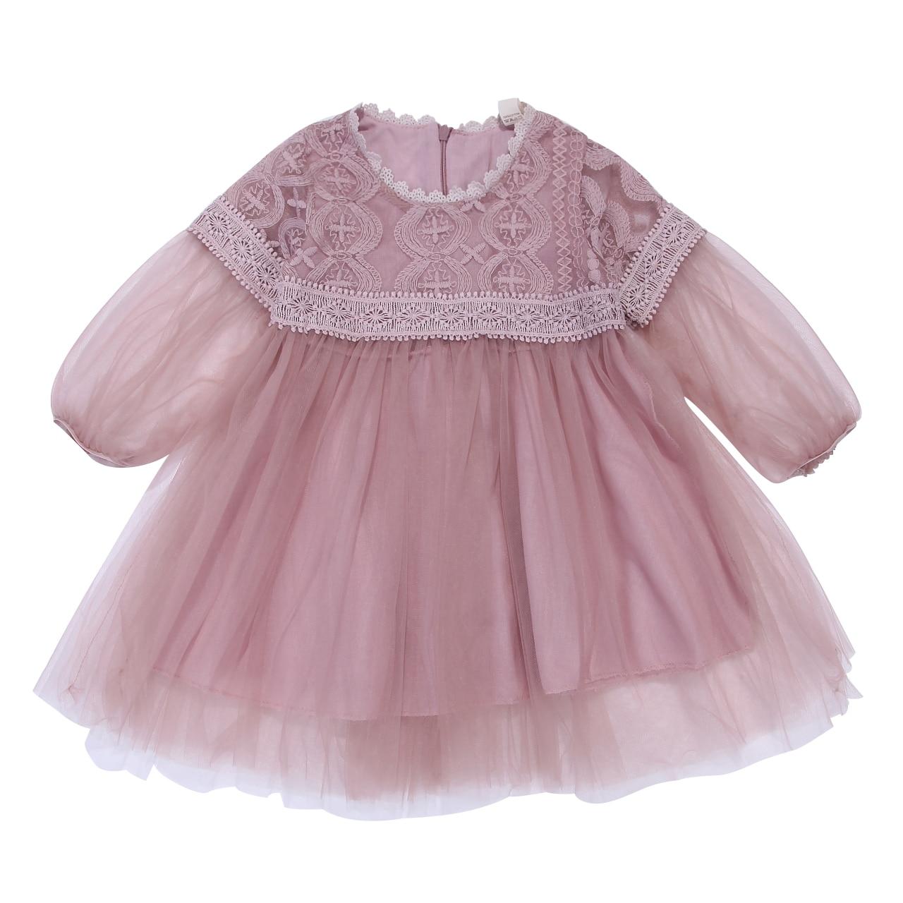 Newborn Toddler Baby Girls Mesh Dress Long Sleeve Autumn Floral Princess Dresses Lace Pageant Party Wedding Tutu Clothes Vestido