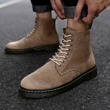 High quality high top leather boots men's shoes Lace Up Men