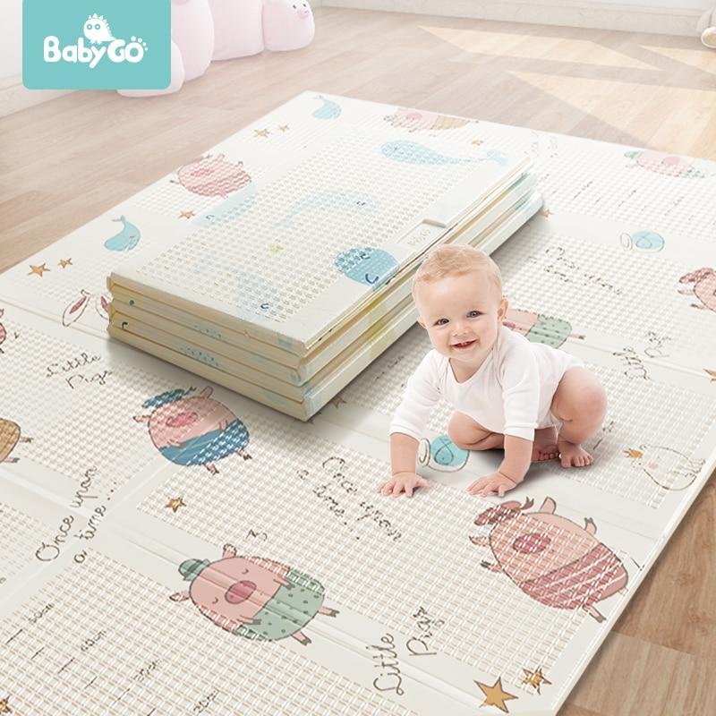 BabyGo bébé pliable tapis de jeu XPE insipide Double côtés tapis ramper épaissi actif jouer couverture bébé chambre ramper Pad150 * 195CM