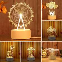LED Night Lights Beauty 3D Horse/Boat/Tower Acrylic 3 Color Changing LED Night Light Desk Bedside Lamp Home Decoration(China)