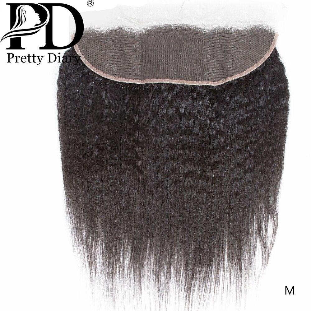 Extensiones de cabello humano Remy con cierre Frontal de malla, cabello Natural rizado brasileño, con 100% de pelo de bebé, 13x4