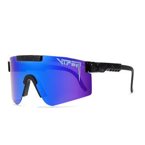 Polarized Sunglasses Mirrored-Lens Flat-Top-Eyewear Pit-Viper Windproof Men/women Blue