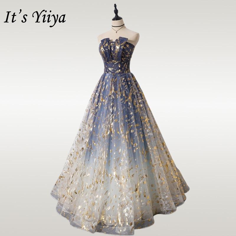 It's Yiiya Evening Dress Long Strapless Shining Formal Party Dresses OY001 Elegant Sleeveless Plus Size Robe De Soiree 2020