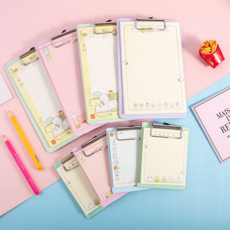 1 Pcs Kawaii Sumikko Gurashi Memo Pad Sticky Notes Memo Portable Notepad With Acrylic Writing Board Clips School Stationery
