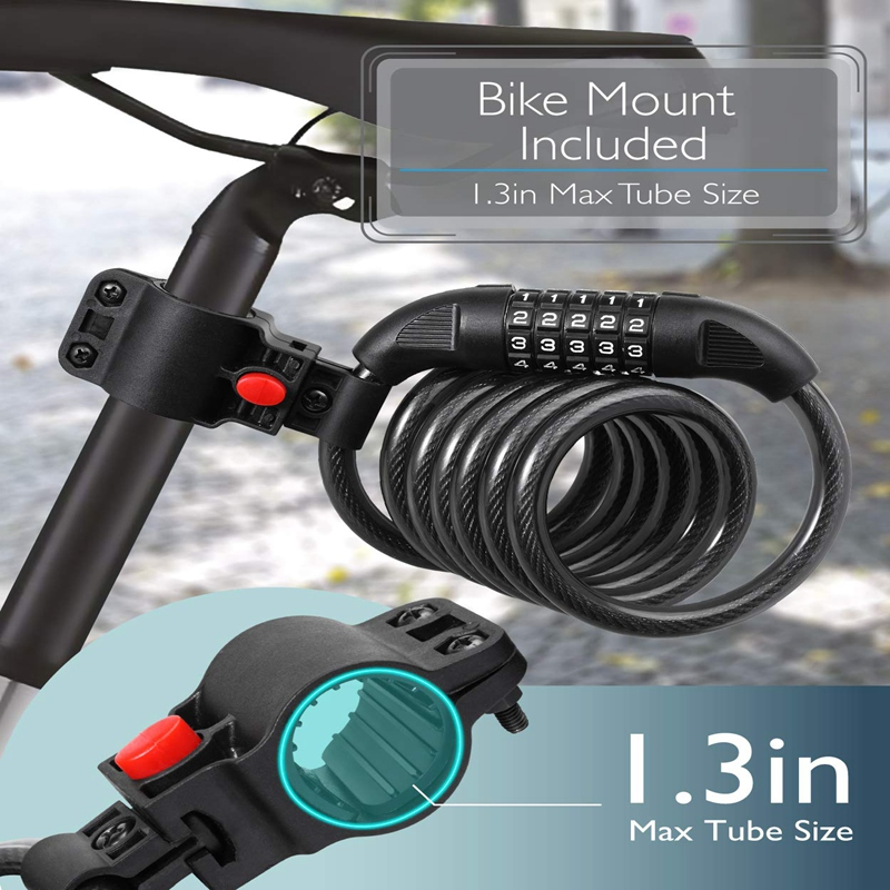 Bike Lock Cable Heavy Duty 5 Digit Combination Code Bicycle Chain Flexible Steel Cable Lock With Bike Mount Holder bicicleta in Bicycle Lock from Sports Entertainment