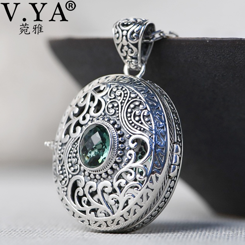 V.YA 925 Sterling Silver Chain Pendant Gawu Box Openable Floating Locket Pendant For Women Jewelry Silver CZ Pendant