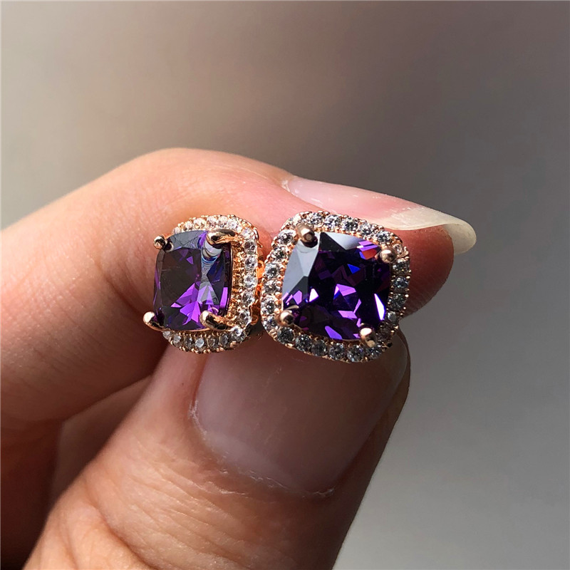 Luxury Female Crystal Purple Stone Earrings Fashion Rose Gold Zircon Wedding Earrings Vintage Double Stud Earrings For Women