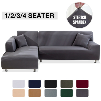 Elastyczny elastyczny pokrowiec na sofę 1 2 3 4 Seater Sof Slipcover poszewki na kanapę na uniwersalne sofy salon przekrój w kształcie litery L narzuty narzuta na sofe tanie i dobre opinie NoEnName_Null CN (pochodzenie) 1 Seater 2 Seater 3 Seater 4 Seater funda sofa Rozkładana okładka Plain Dyed Nowoczesne