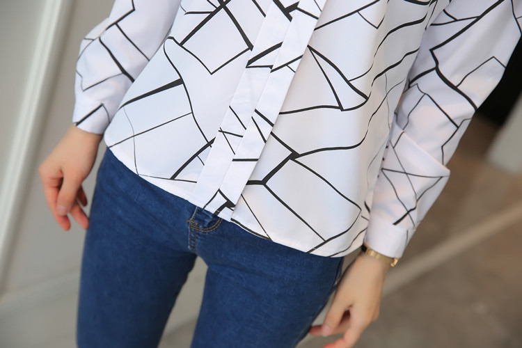 H5e3b74ce4aa043e993acce26bf47f4e5m - Women Fashion White Tops and Blouses Stripe Print Design Casual Long Sleeve Office Lady Work Formal Shirts Female Plus Size