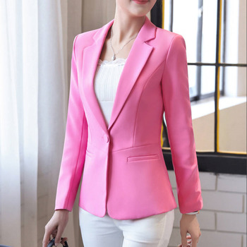 PEONFLY Fashion 2020 Women's Long Sleeve Blazers Solid One Button Coat Slim Office Lady Jacket Female Tops Suit Blazer Femme 1