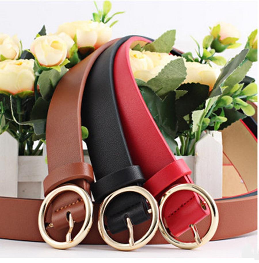 None Round Women Solid Fashion Buckle Waist Casual Shape Belt 2019 New Simple Circle Pin Buckles Belt Boho Waistband