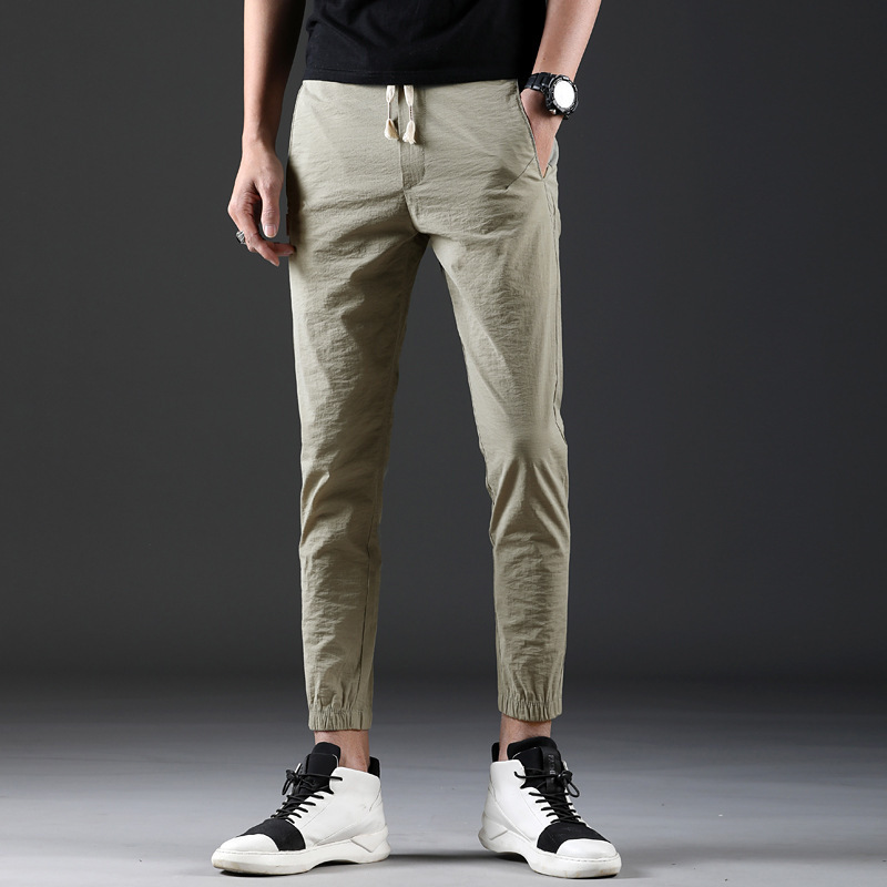 Spring Men Lace-up Elasticity Casual Skinny Capri Quick Drying Pants Men's Fashion Casual Beam Leg 9 Pants 8626