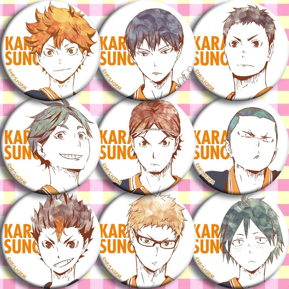 Anime Haikyu Hinata Shoyo Nishinoya Yuu Oikawa Tooru Kuroo Tetsurou Kozume Kenma Cosplay Bedge Cartoon Bags Badge Button Brooch