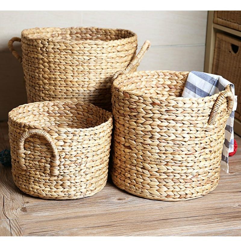 1PCS Home Hand-woven Rattan Hamper Storage Bin Nordic Piano Leaf Plant Flower Pot Storage Basket WY418