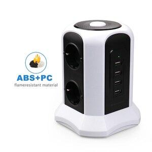 Image 4 - Tháp Điện Dải Dọc Tăng Bảo Vệ 6 Cách EU Ổ Cắm Ổ Cắm USB Công Tắc Quá Tải Tấm Bảo Vệ Nối Dài 2M dây