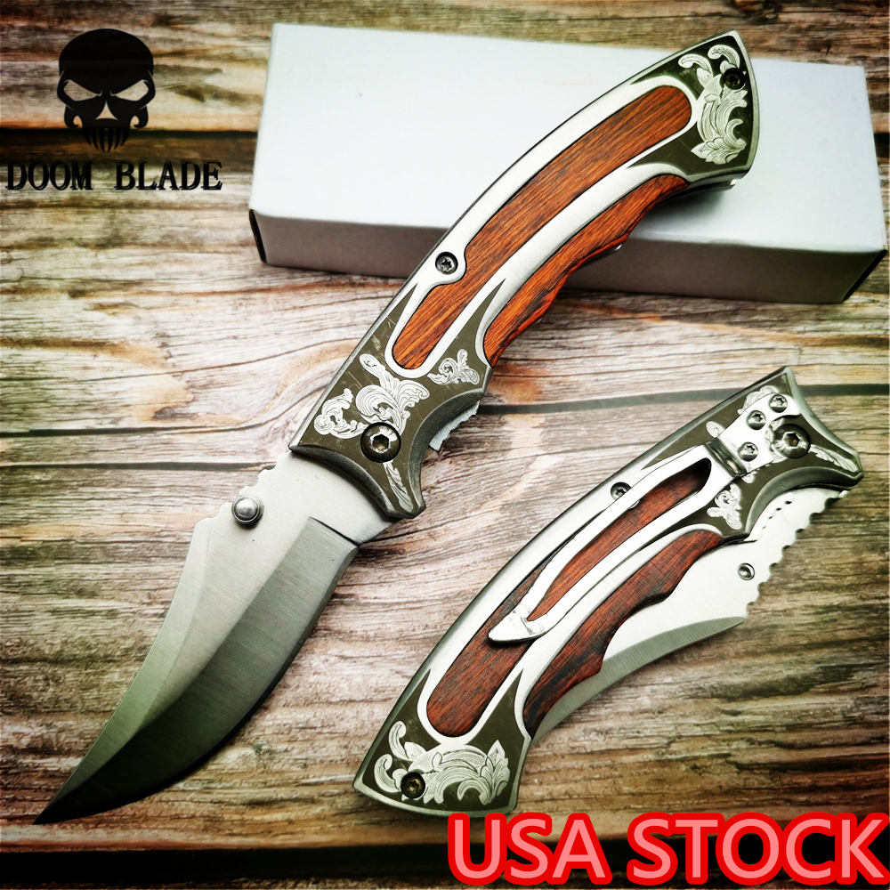 195mm 5CR15MOV Blade Knives Military Folding Knife 57HRC Wood Handle Outdoor Camping Knives Tactical Huntng Pocket Survival(China)